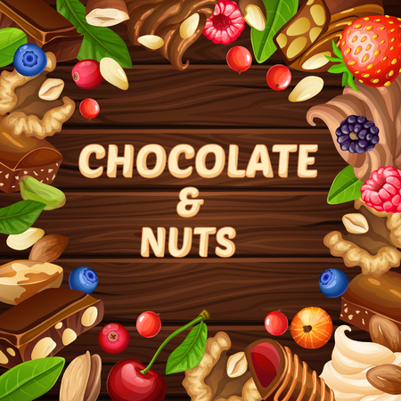 Cartoon pastry template with nuts berries whipped cream chocolate candies and pieces on wooden background vector illustration Ilustrace
