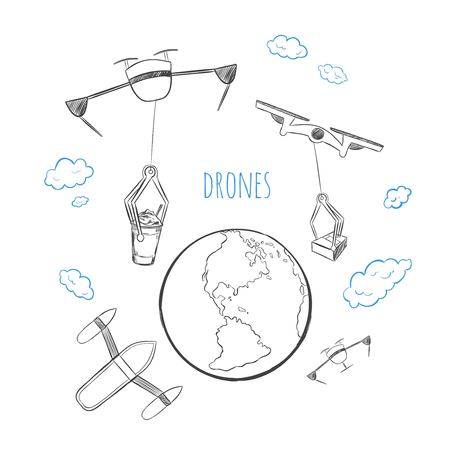 Sketch future technology delivery concept with  quadcopters transporting different products above earth