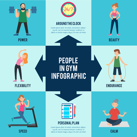 Active leisure infographic concept with athletic people doing exercises and developing different skills in gym vector illustration 向量圖像