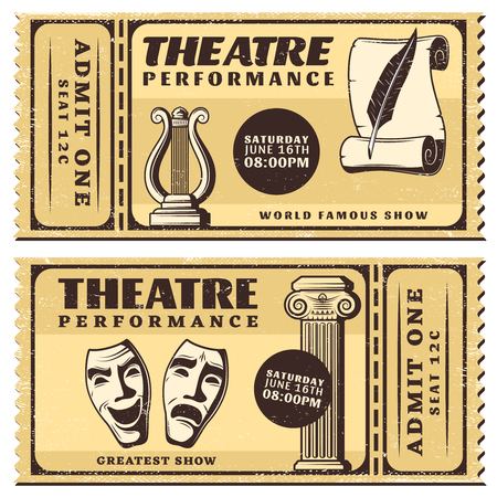 stage costume: Vintage Theatre Performance Horizontal Tickets