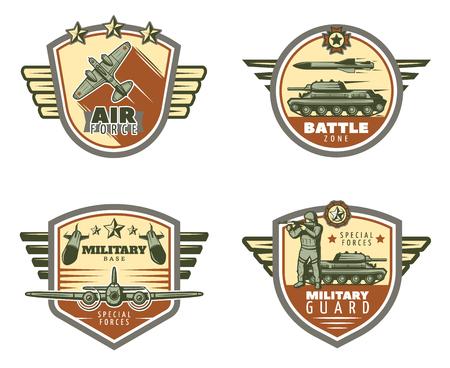 Colored Vintage Military Emblems Set