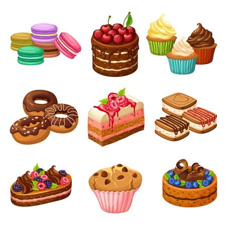 Cartoon Sweet Products Elements Set