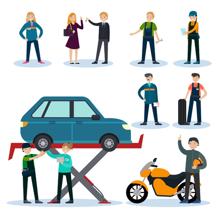 auto service: People In Car Repair Service Set