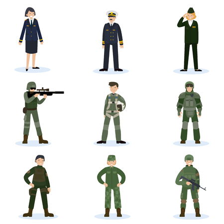 Army Soldiers Set Ilustrace