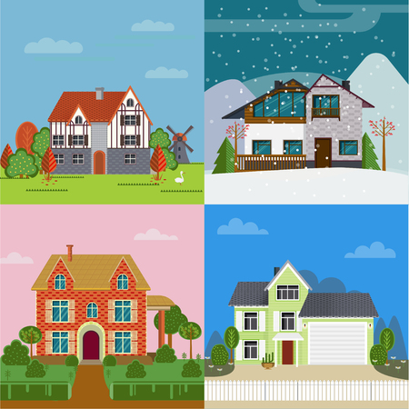 Colorful Suburban Cottages Flat Concept Vecteurs