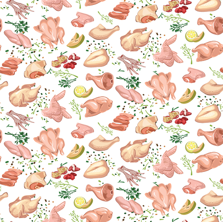 Colored Sketch Poultry Meat Seamless Pattern 向量圖像