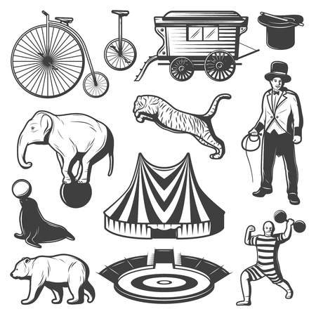 Vintage Circus Elements Collection Illustration
