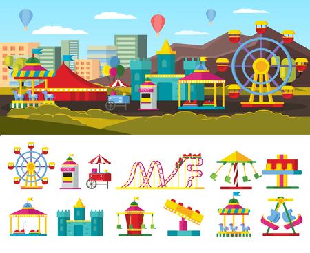 Urban Amusement Park Concept Illustration