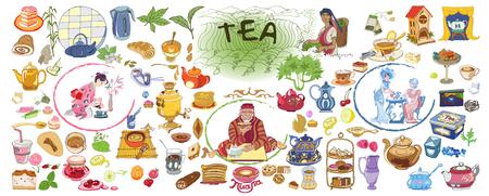 Dibujo colorido Colección de elementos de té Doodle Ilustración de vector