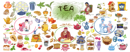 Colorful Drawing Doodle Tea Elements Collection