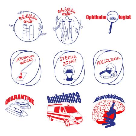 quarantine: Doodle Medical Logos And Labels Set