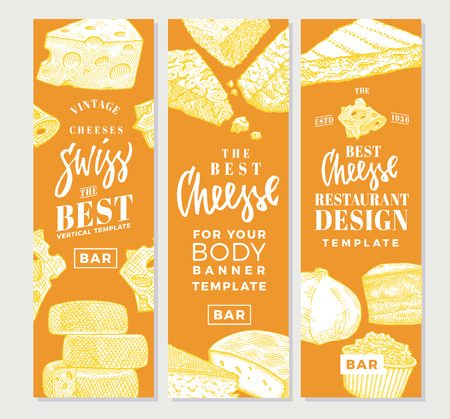 Hand Drawn Food Products Vertical Banners Illustration