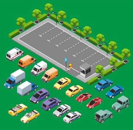 Isometric Urban Transport Concept Illustration