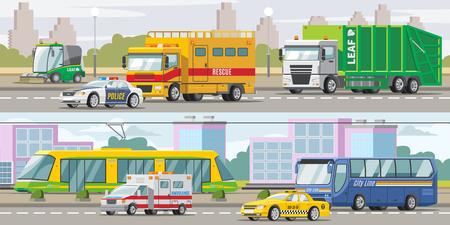 City Transport Horizontal Banners Ilustrace