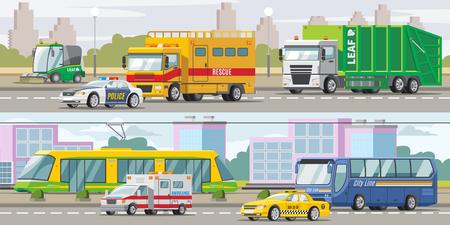 City Transport Horizontal Banners Illustration