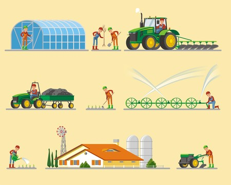 Farming Elements Collection Stock Illustratie