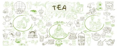 Sketch Traditionelle Tee Elemente Set Standard-Bild - 77036001