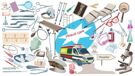 medical gloves: Colorful Drawing Medicine Elements Set Illustration