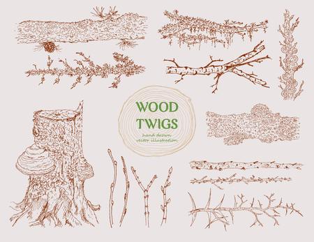 手描きの木の枝のセット
