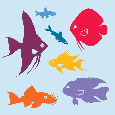 Colorful Aquarium Fish Silhouettes Set Illustration