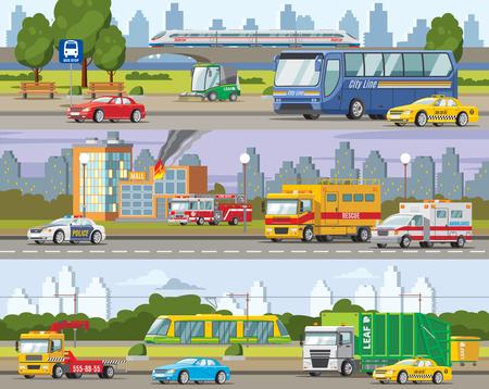 Modern Urban Traffic Horizontal Banners Vectores