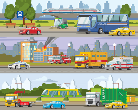 Modern Urban Traffic Horizontal Banners Illustration