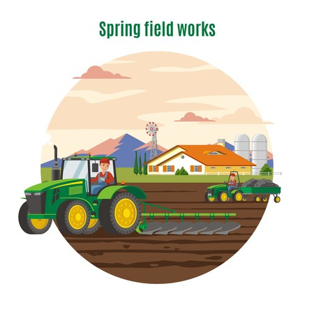 Colorful Agriculture And Farming Concept Иллюстрация