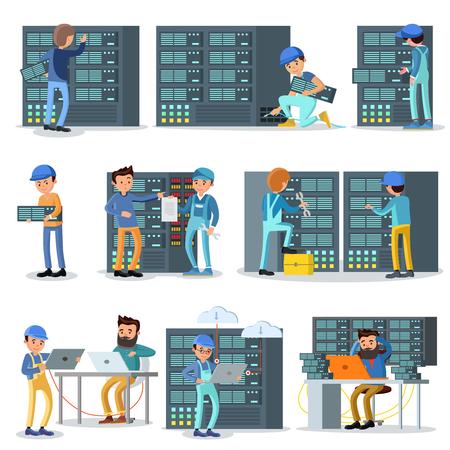 laptop repair: Data Center Working People Set