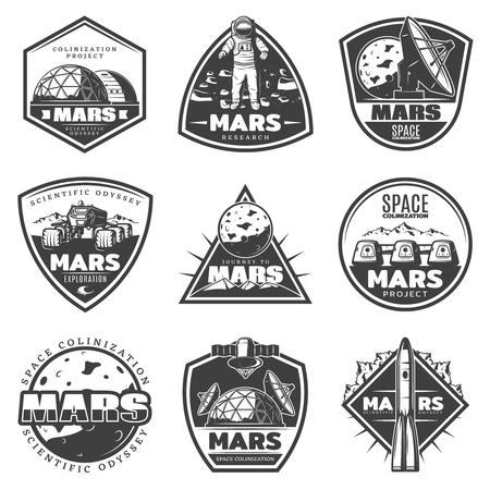 Vintage Monochrome Mars Research Labels Set