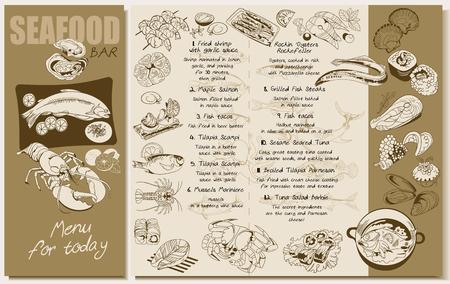 Sketch Seafood Restaurant Menu Template.