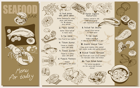 crab meat: Sketch Seafood Restaurant Menu Template.