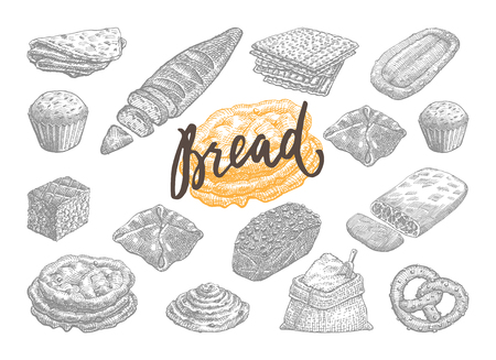 Hand Drawn Bread And Pastries Set. Illustration