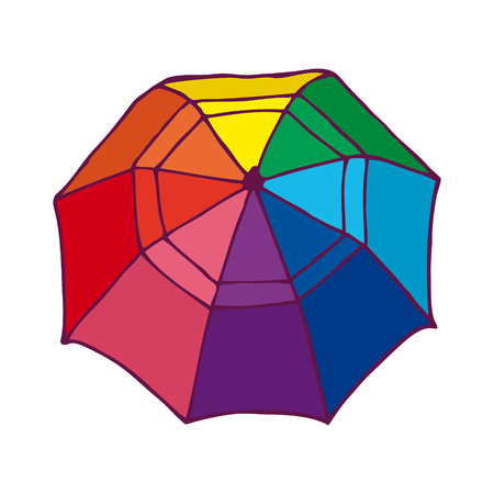 rainbow umbrella: Top View Colorful Opened Umbrella Concept.