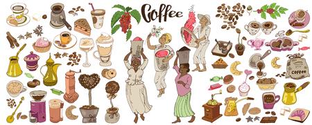 다채로운 낙서 커피 요소 세트 일러스트