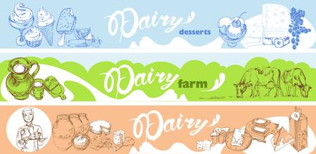 Hand Drawn Dairy Horizontal Banners Stock Vector - 77160647