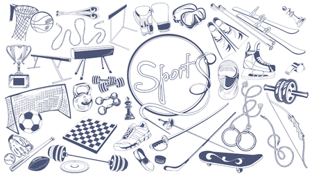 Monochrome Sports Elements Collection Stock Vector - 77160759