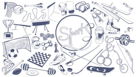 Monochroom sport elementen collectie
