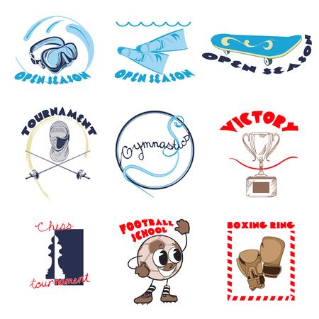 Colorful Sport Doodle Logos Set Illustration