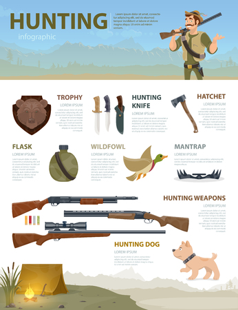 Colorful Hunting Infographic Concept Illustration