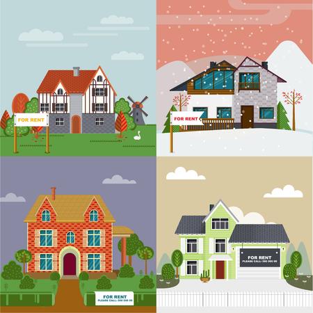 Colorful Villas And Cottages Flat Set
