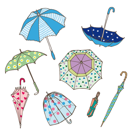 Colorful Umbrellas Collection Illustration
