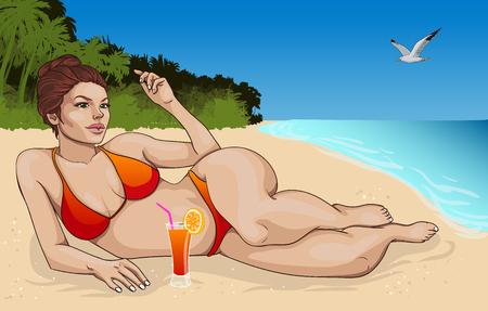 lying in: Beautiful Lying Woman In Bikini Concept Illustration