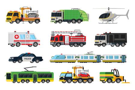 市営トランスポート ・ セット  イラスト・ベクター素材