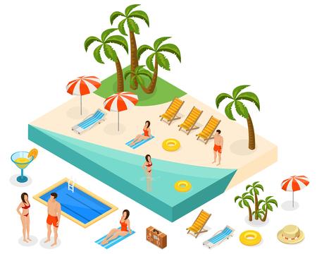 Isometric Island Travel Concept Stock Vector - 77096882