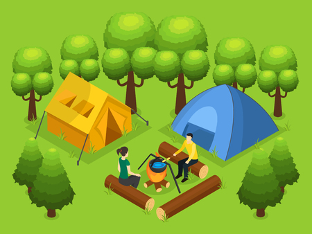 Colorful Backpacking Recreation Concept