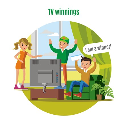 Tv Lottery Win Concept Illustration