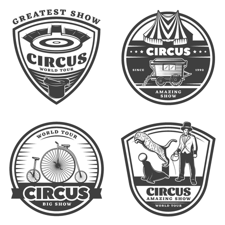 Black Vintage Circus Emblems Set Illustration