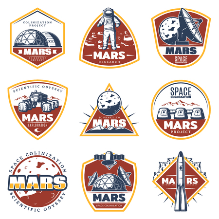 Colored vintage space labels set with inscriptions Mars exploration and research elements isolated vector illustration Vector Illustration