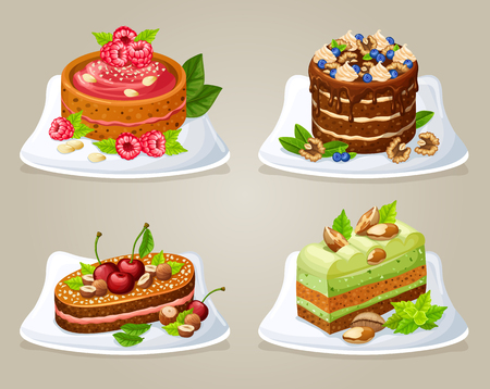 Colorful decorative cakes on plates set with different ingredients berries and nuts isolated vector illustration