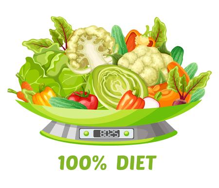 Luz vegetal concepto de dieta con zanahoria repollo pepino calabaza pimienta tomate brócoli coliflor rábano remolacha en escalas ilustración vectorial aislado Vectores